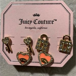 Juicy Couture Set of 3 Key-Lock-Heart Earrings